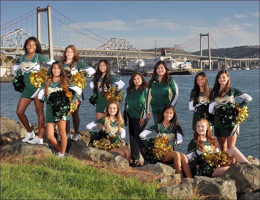 Cheer team photo with the new span of the Carquinez bridge